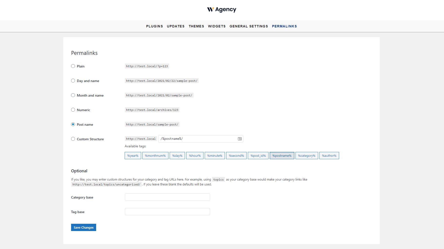wordpress permalink settings frontend