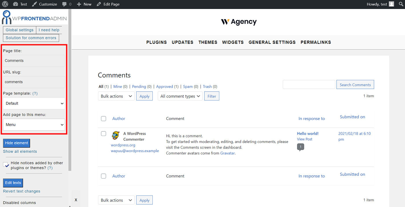 wordpress manage comments frontend