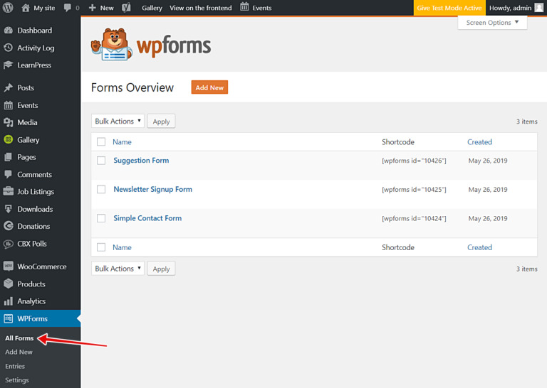 wp forms allow users to create and edit forms on frontend