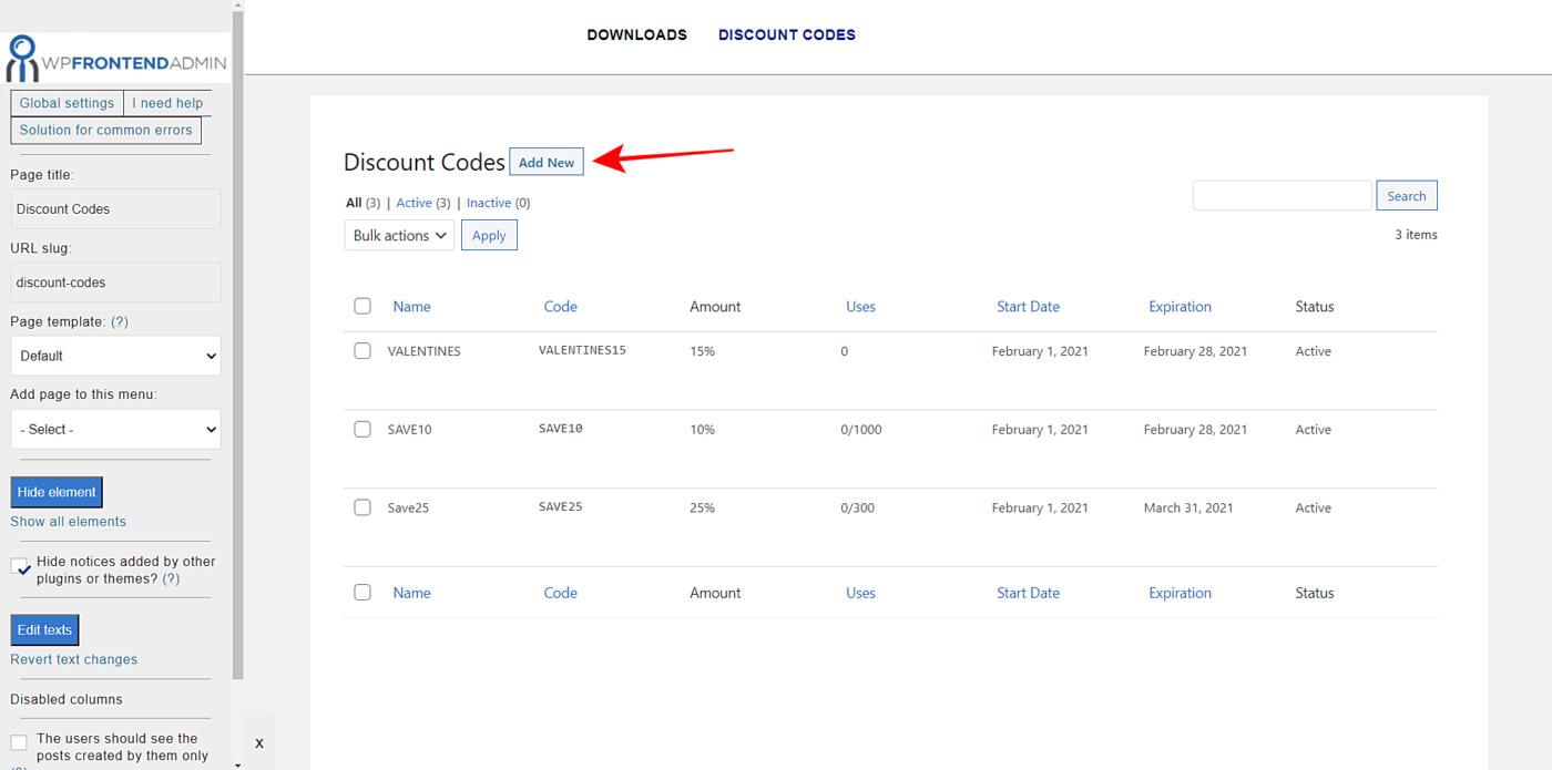 edd discount codes frontend