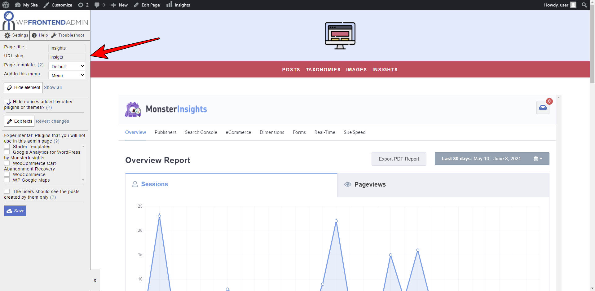 frontend analytics reports