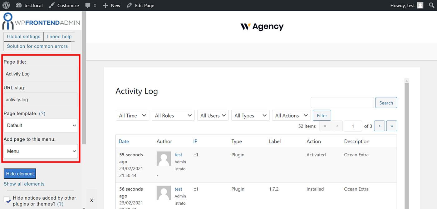 wordpress activity log frontend