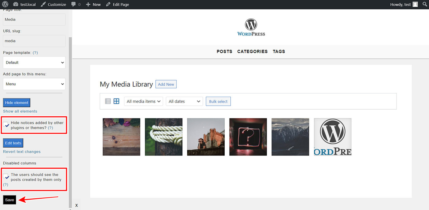 wordpress media library frontend