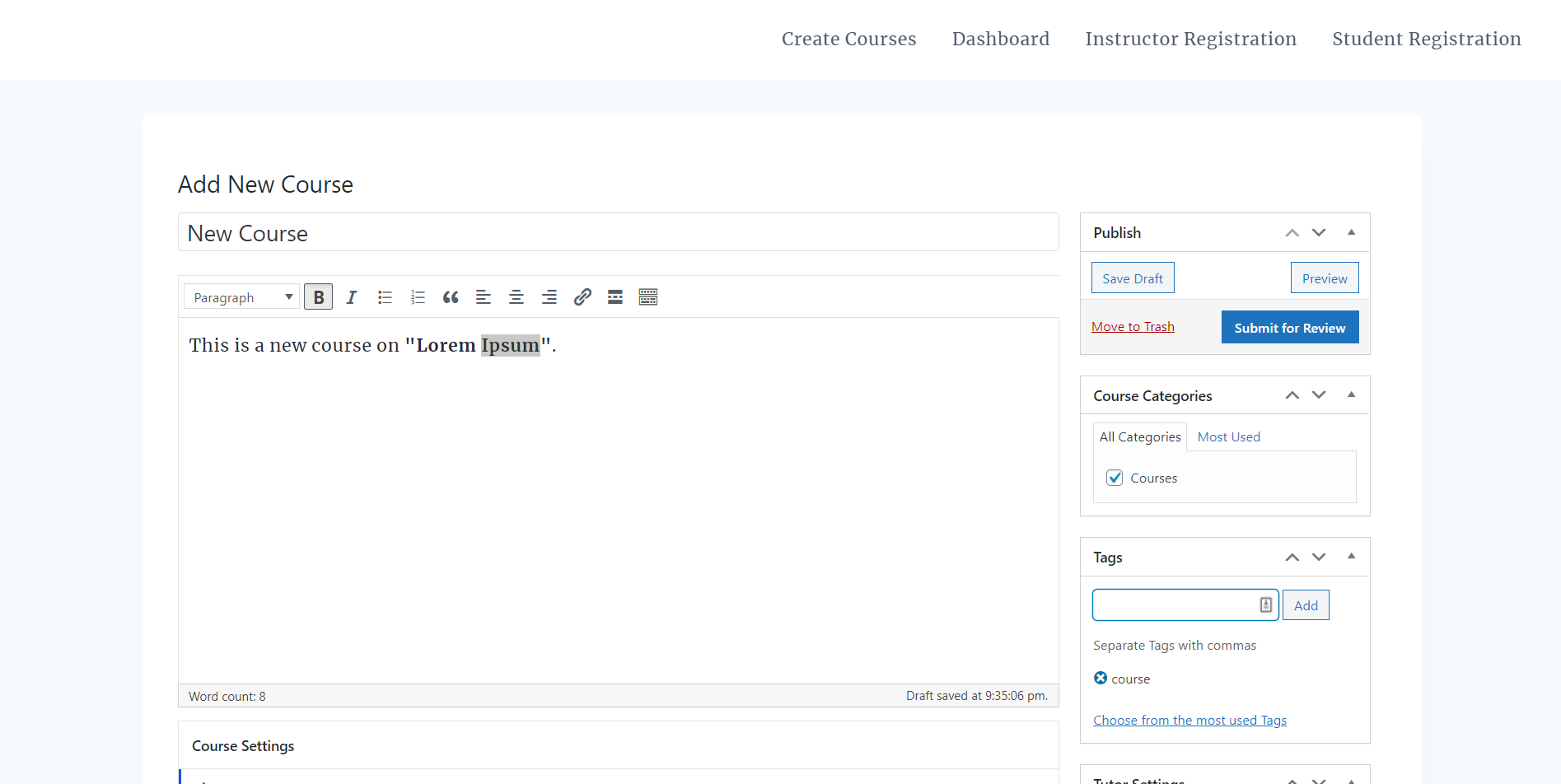 tutor lms create courses on the frontend