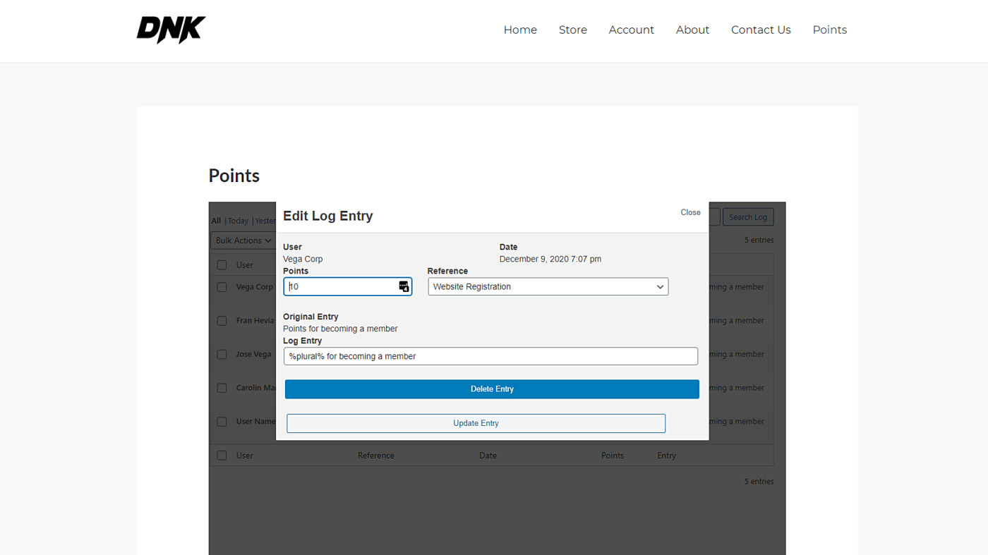 mycred manage user points on the frontend