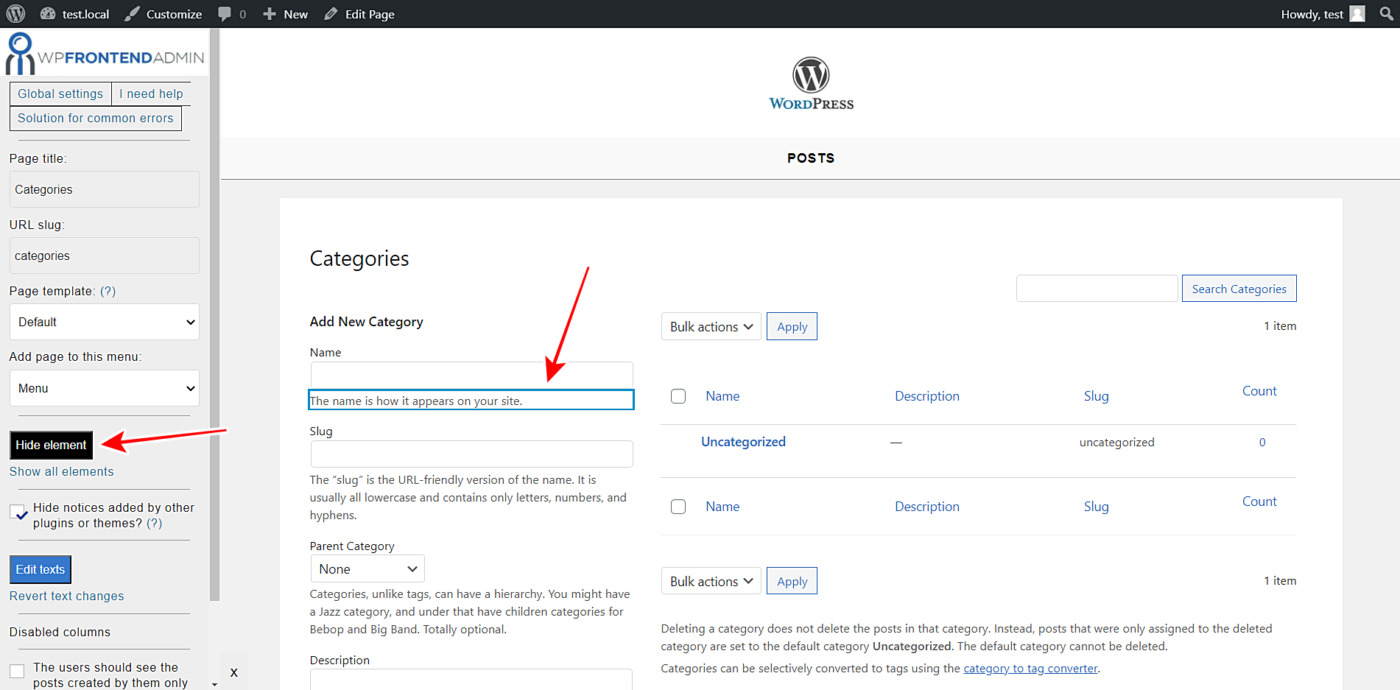 wordpress categories tags frontend