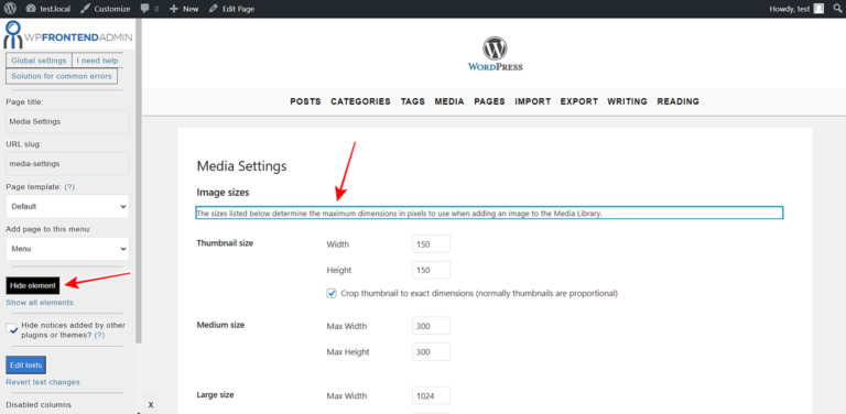 WordPress – Manage the Media Settings on the Frontend