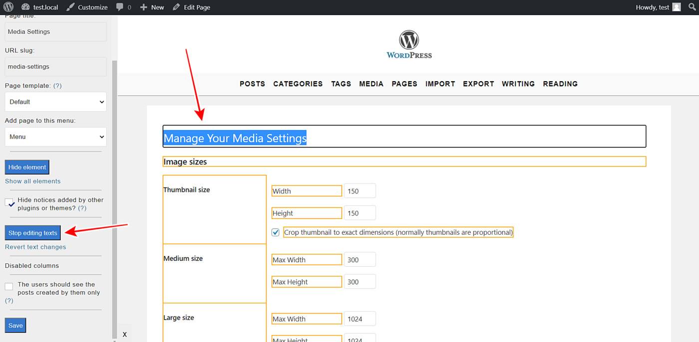wordpress media settings frontend
