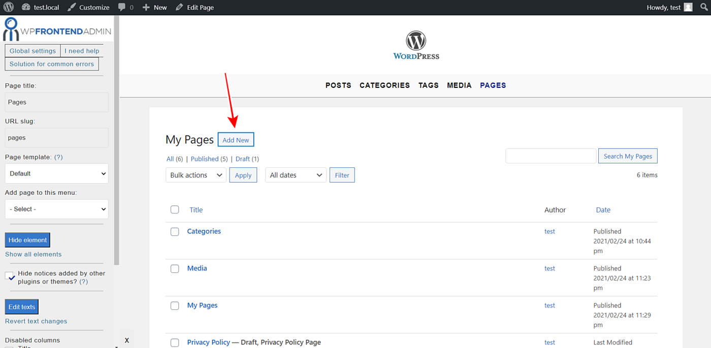 wordpress pages frontend