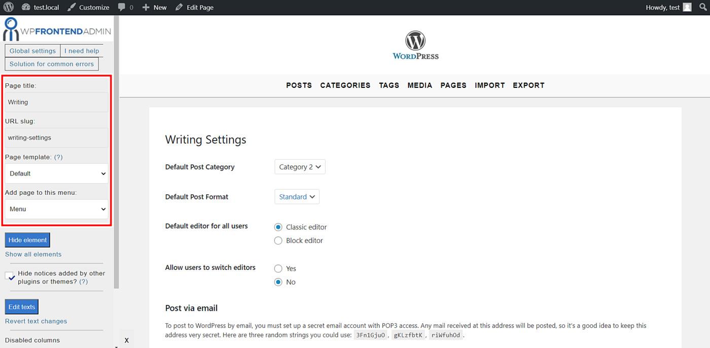 wordpress writing settings frontend
