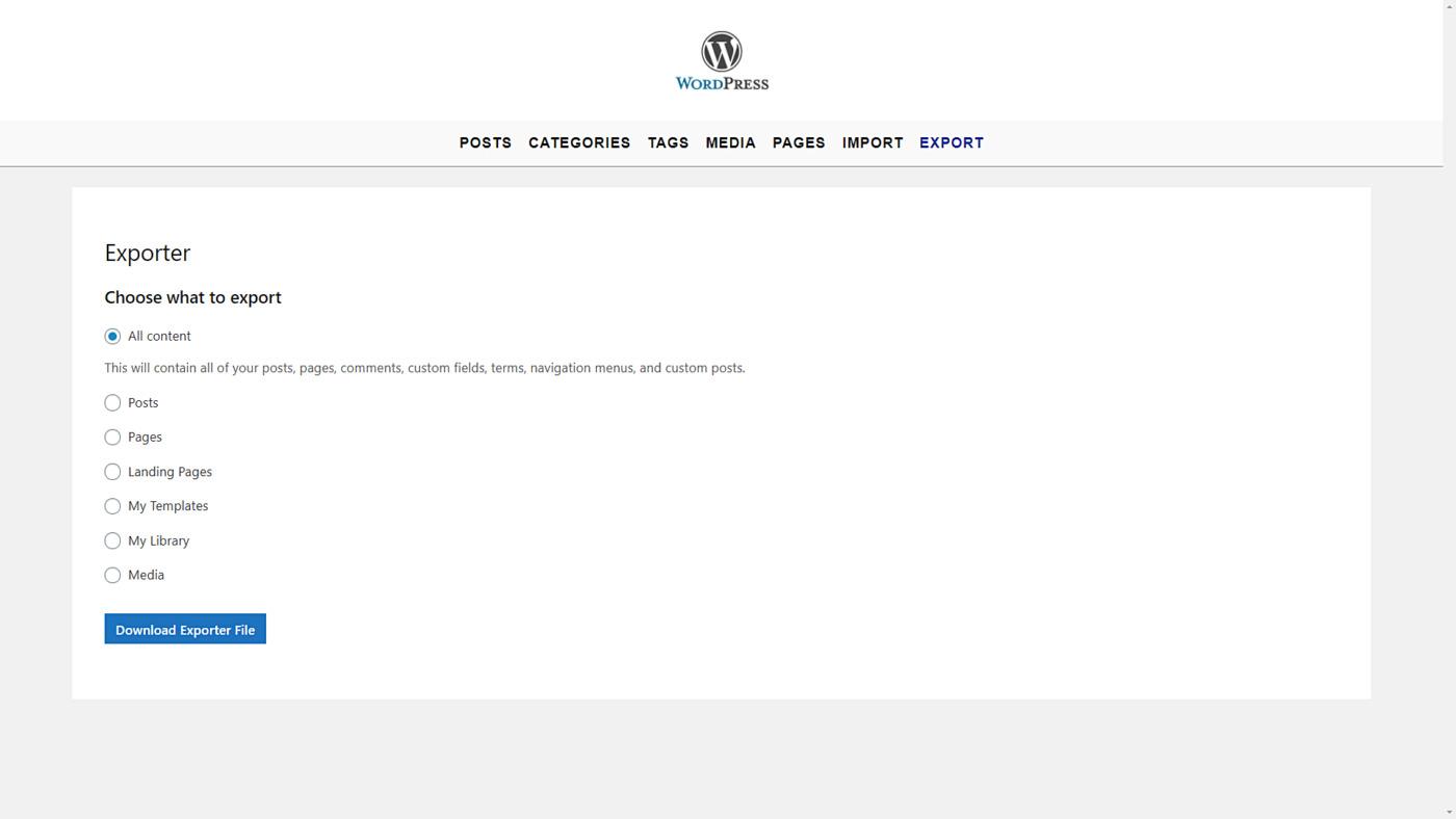 wordpress import export tools frontend
