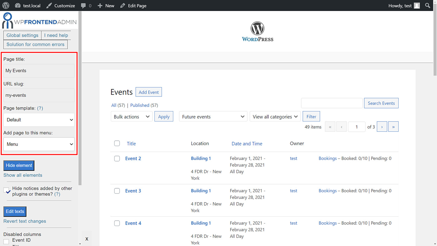events manager frontend