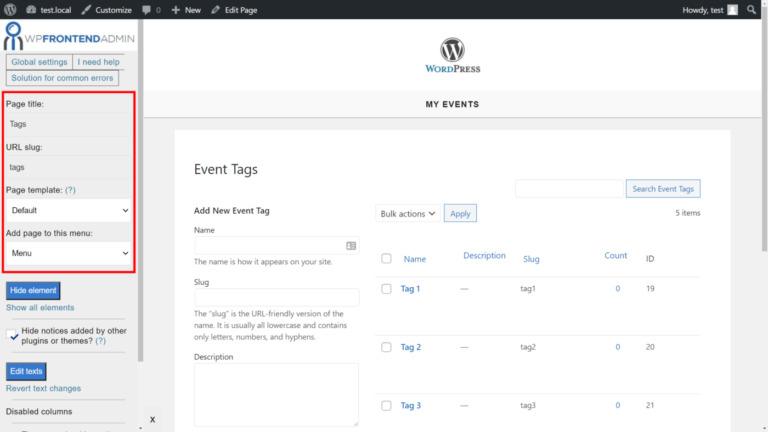Events Manager – Manage Event Categories and Tags on the Frontend