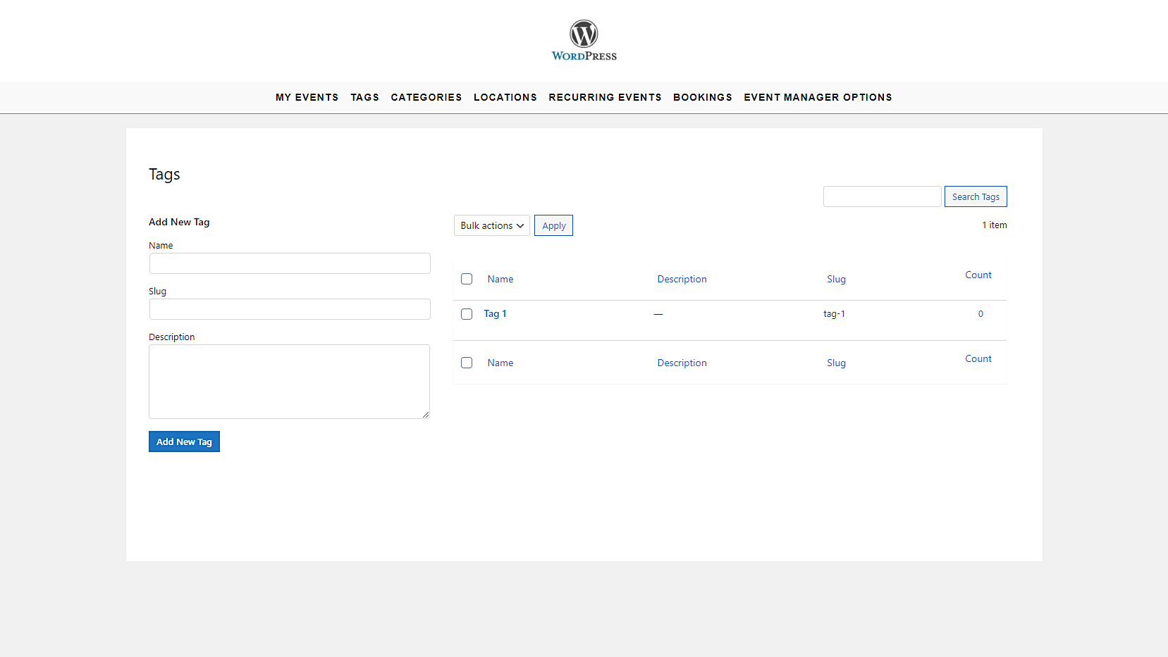 manage event categories frontend