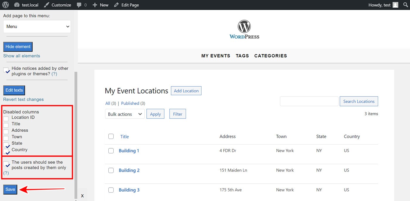 manage event locations frontend