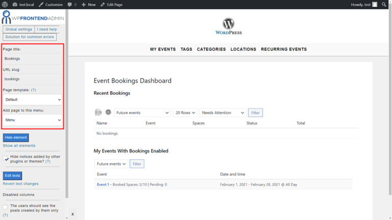Events Manager – Manage Bookings on the Frontend