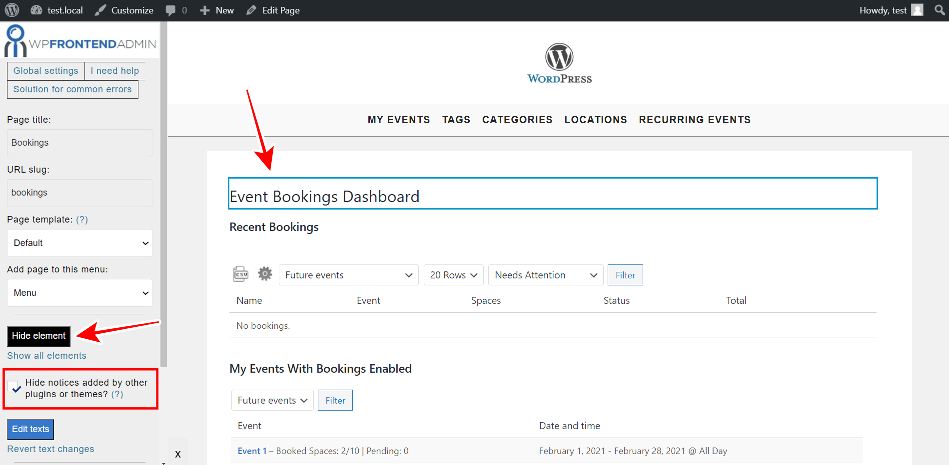 manage event bookings frontend