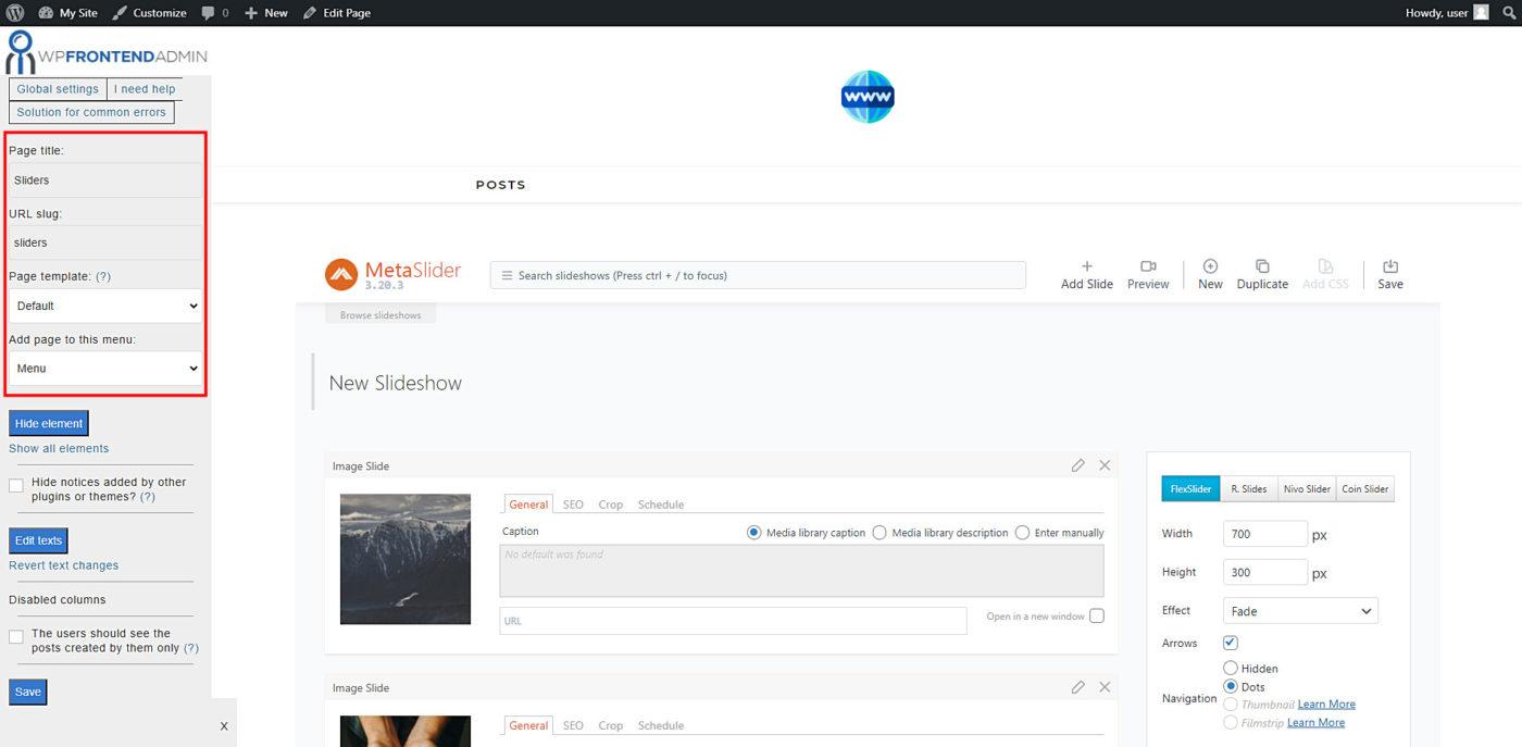 metaslider frontend slideshows