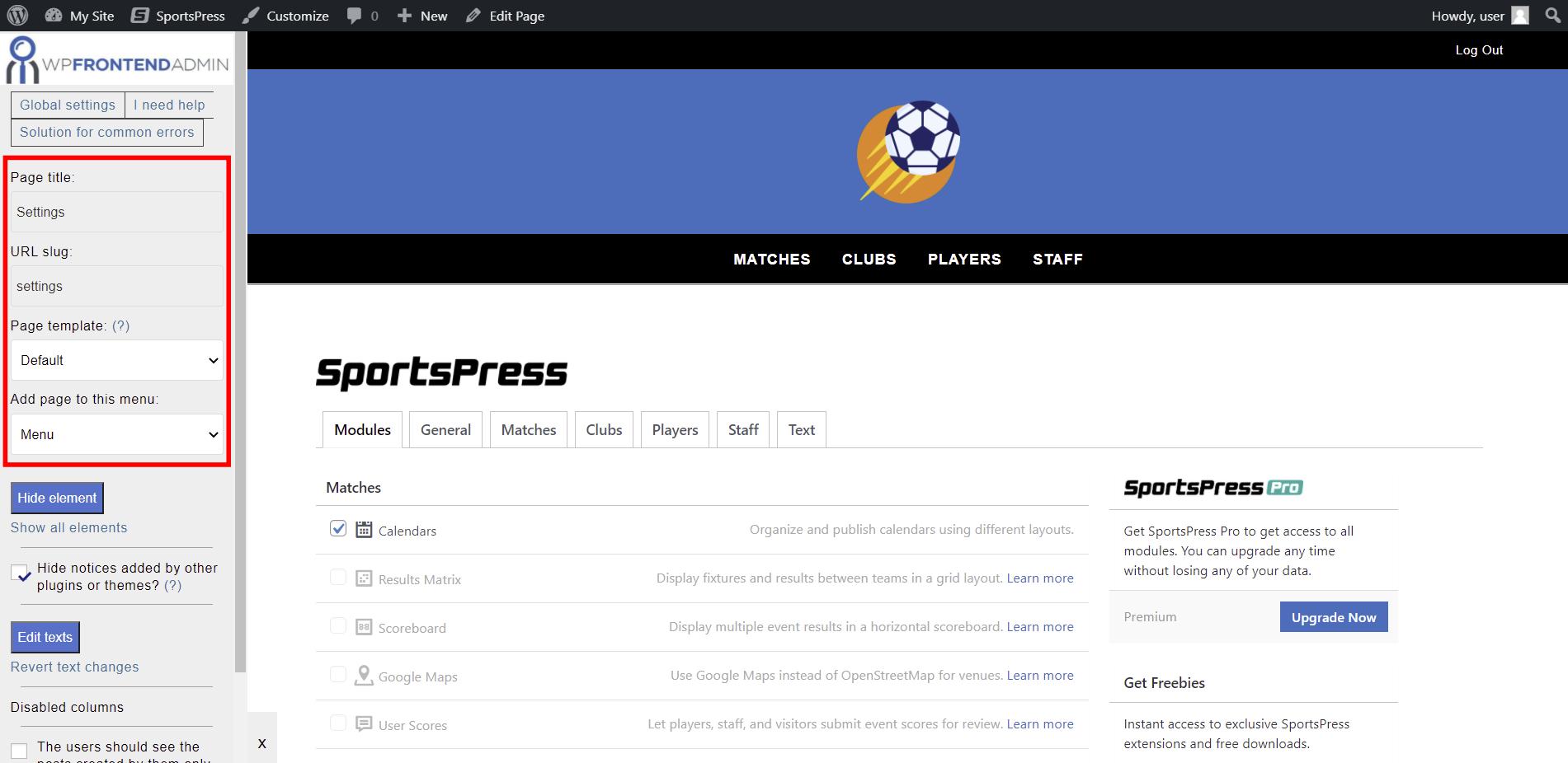 sportspress settings frontend