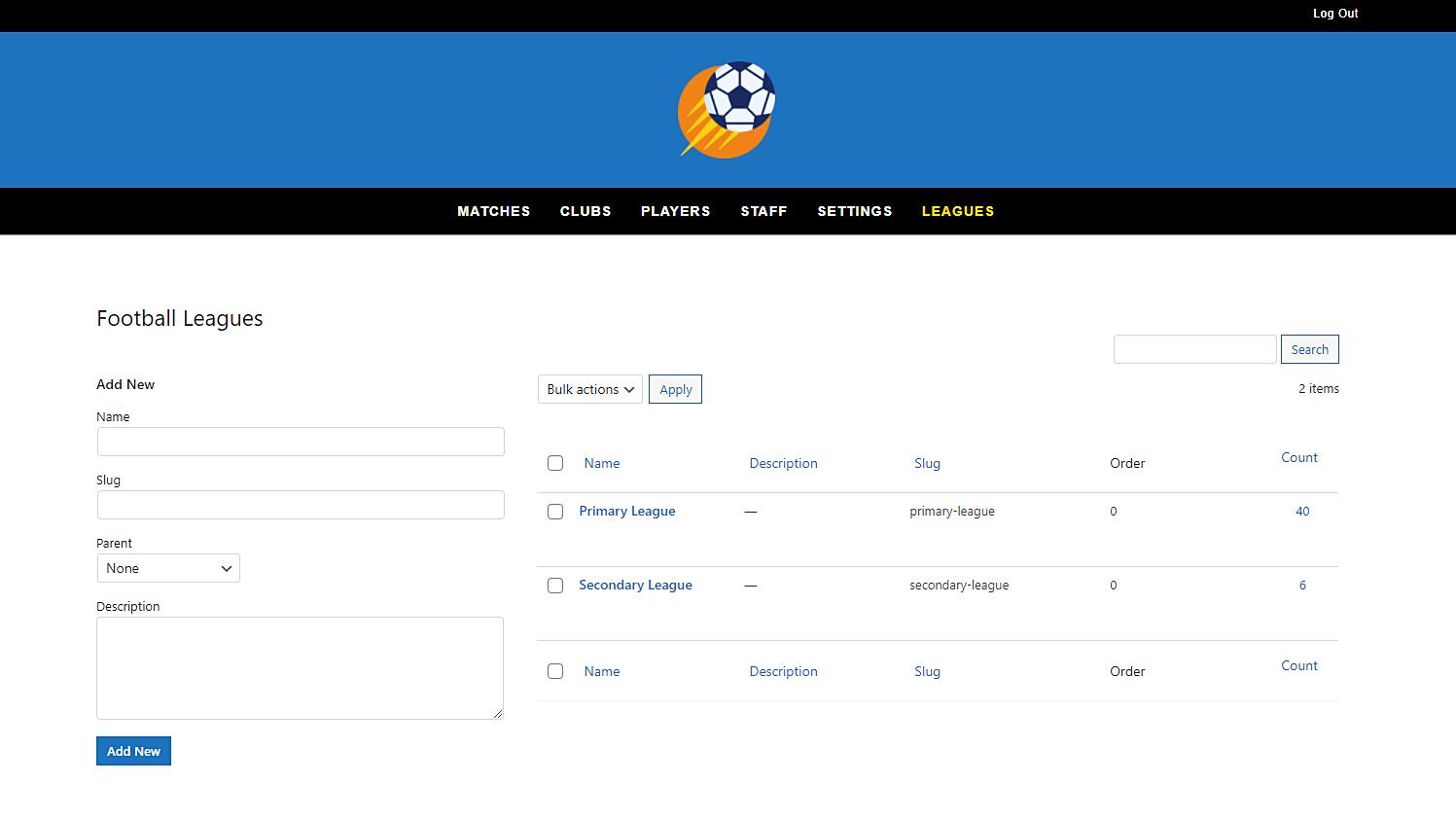 sportspress football leagues frontend