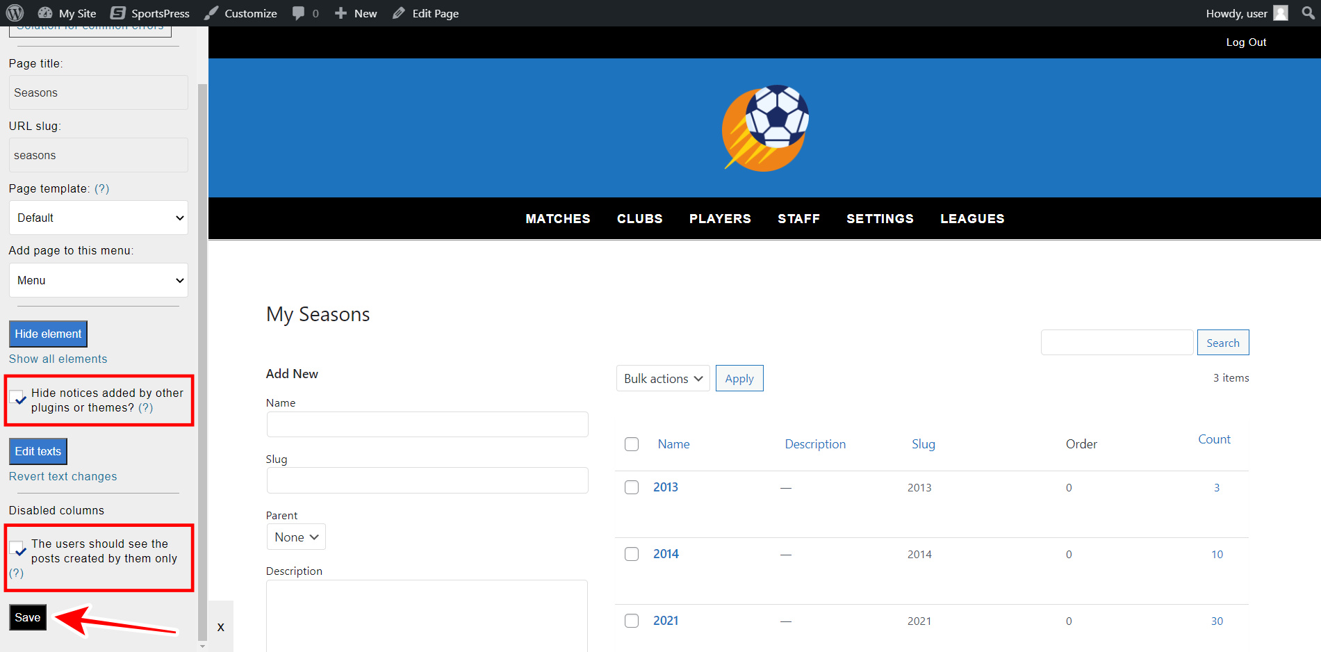 manage sportspress seasons on the frontend