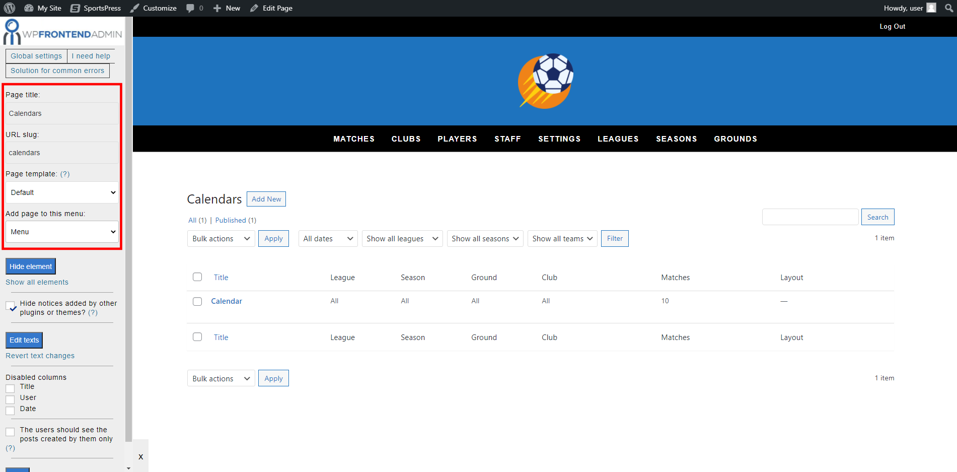 manage sportspress calendars on the frontend