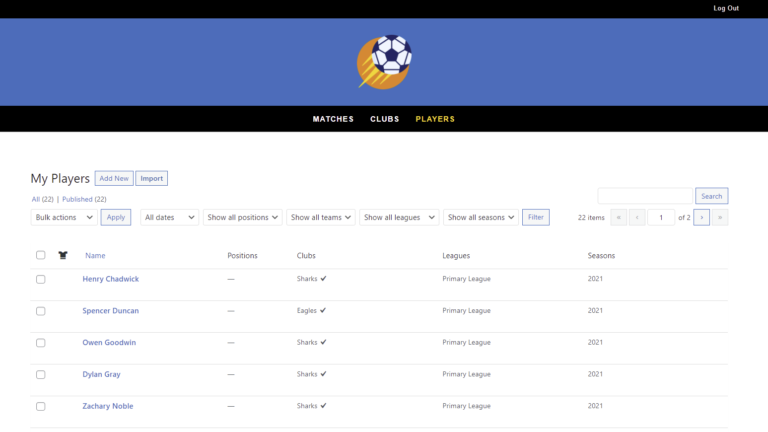 SportsPress for Football – How to Manage Players on the Frontend