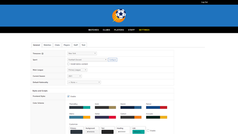How to Manage SportsPress for Football Settings on the Frontend