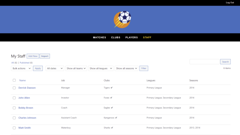 SportsPress for Football – How to Manage Staff and Jobs on the Frontend