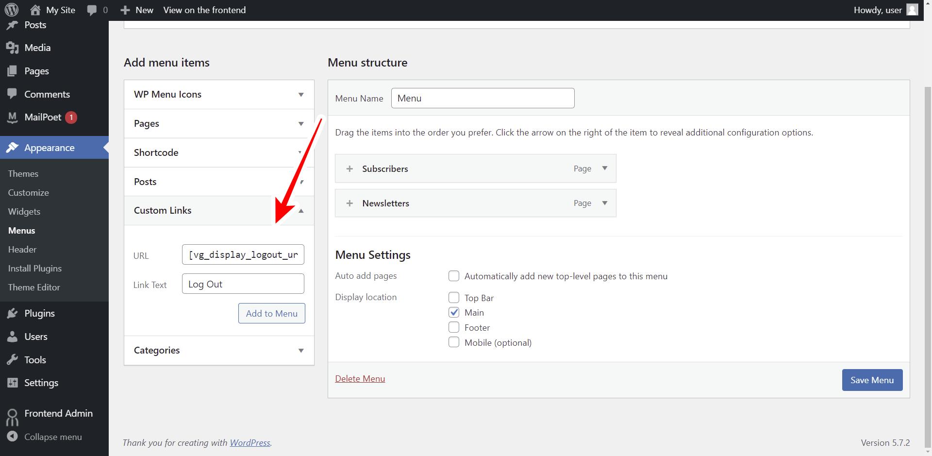 wordpress custom logout button