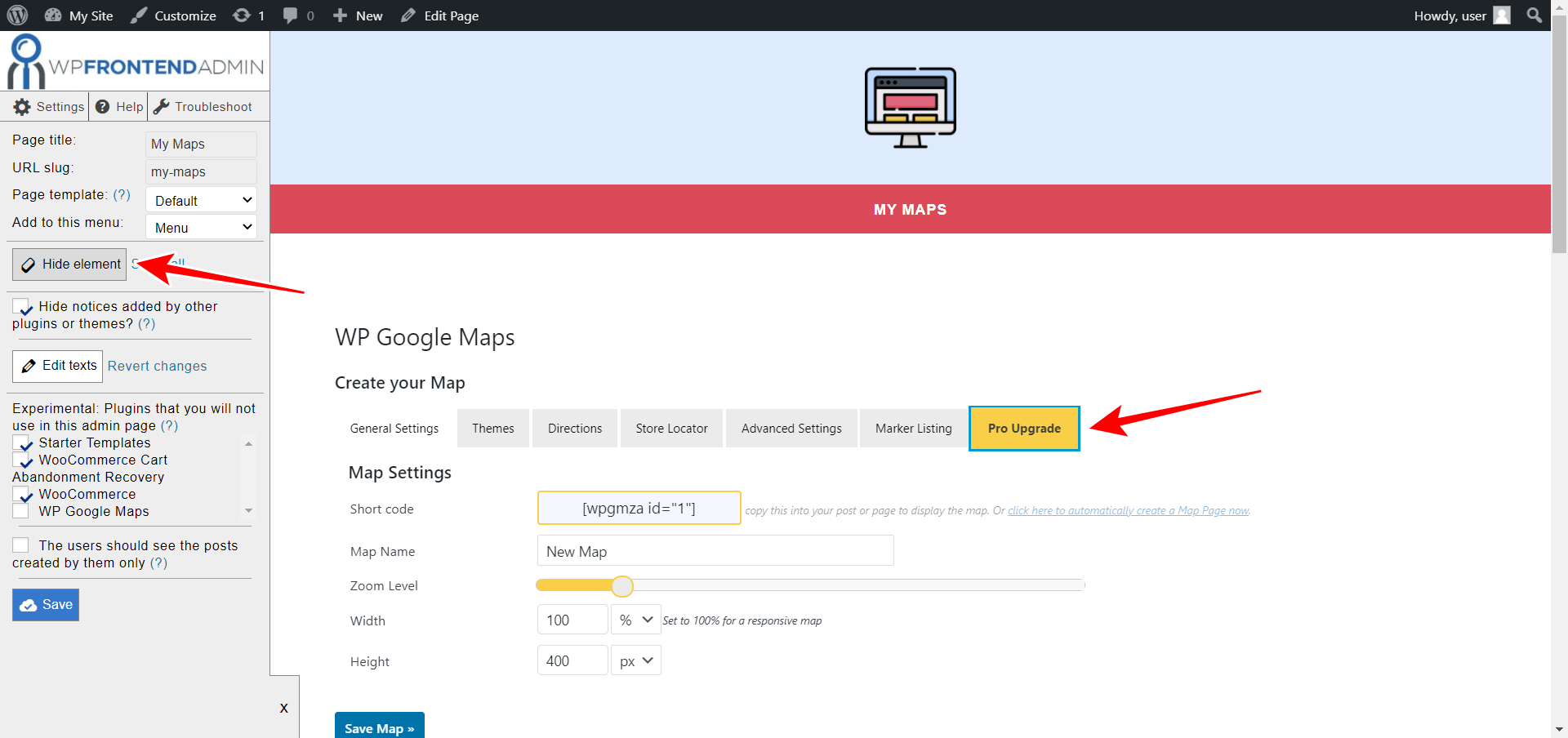 wp google maps frontend