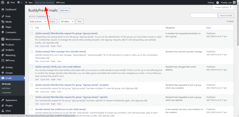 BuddyPress – How to View and Manage Emails on the Frontend