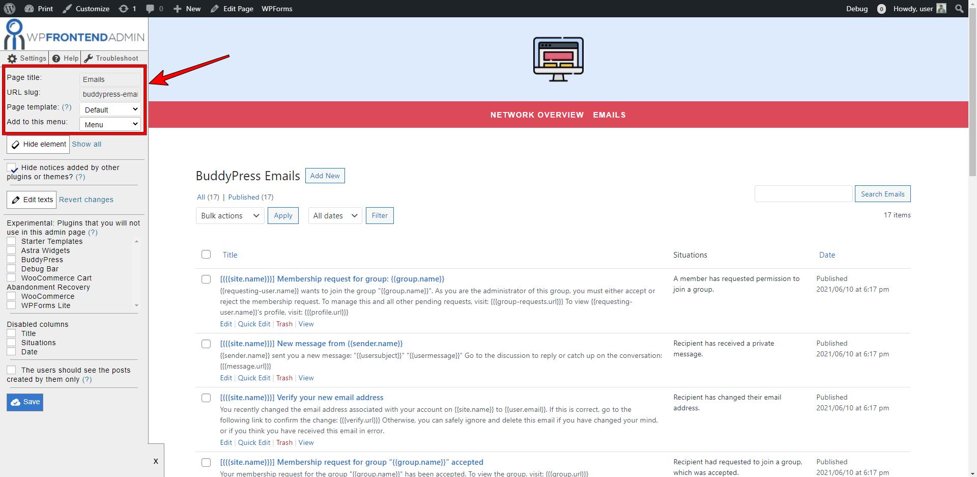 buddypress emails frontend