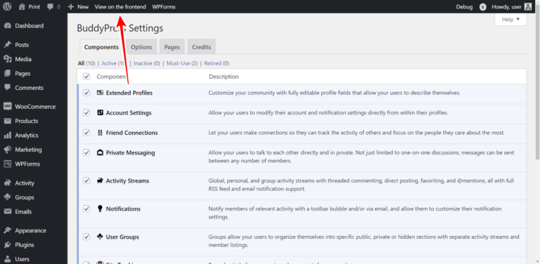 WordPress – How to Manage BuddyPress Settings on the Frontend