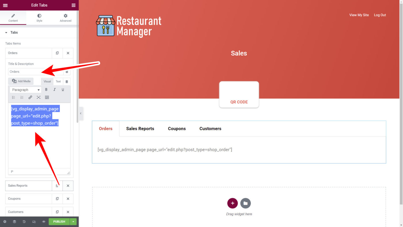 frontend sales page for restaurant management